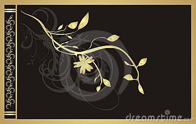 Gold twig. Floral ornament for decor of card