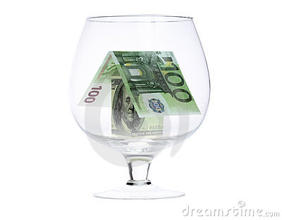 House made of money in a glass