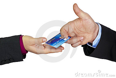 Hand passing a credit card
