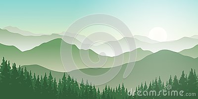 Mountains landscape with pines forest and sunrise