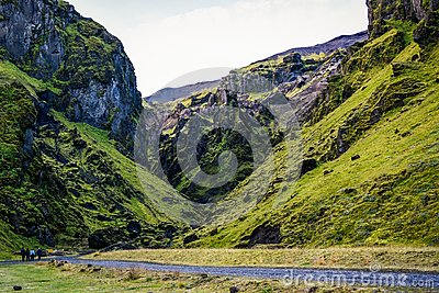 stock image of icelandic landscapes in the vik area. endless spaces, green and