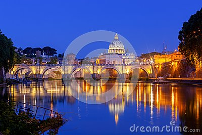 Rome. The Tiber River and Saint Peter`s Cathedral.