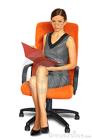 Male secretary on chair isolated