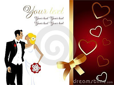 Beautiful wedding couple greeting card