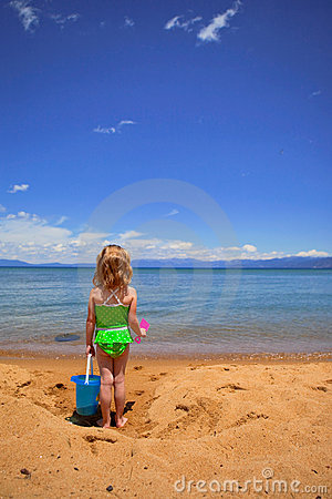 Girl in the sand at the Lake