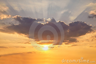Sunshine background with coloured sky