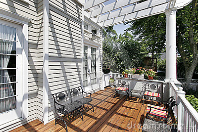 Deck with wrought iron furniture