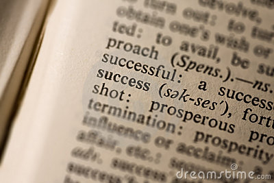 Closeup of the word success