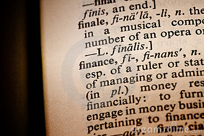 Closeup of the word finance