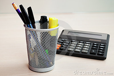 Calculator and stationery