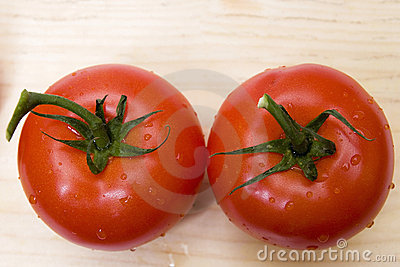 Two tomatoes from above