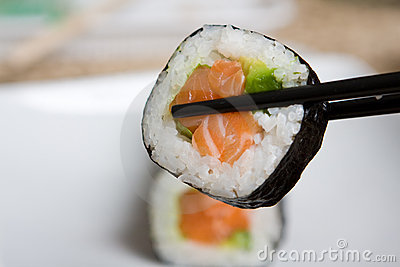 Plate of fresh salmon japanese sushi