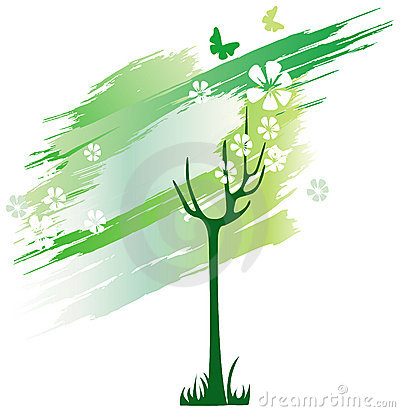 Green tree from line brushes
