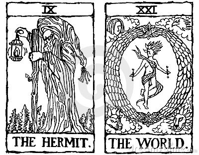 Two Tarot Cards outline v.4