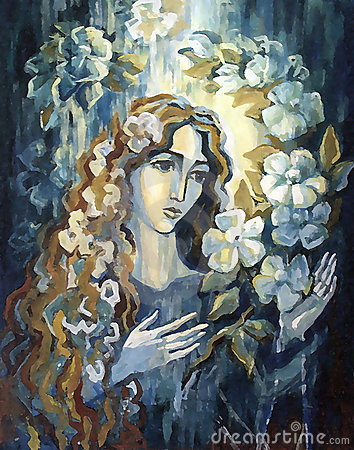 Illustration - the girl/woman and flowers