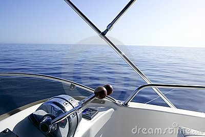 Boat on the blue Mediterranean Sea yachting