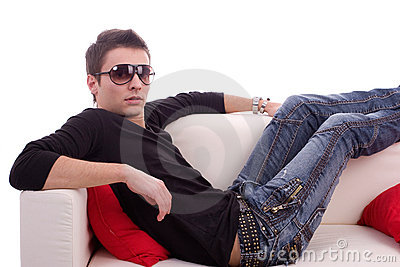 Casual boy relaxing on couch
