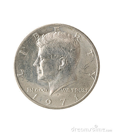 Half dollar, white background.