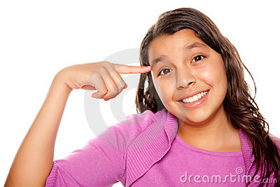 Pretty Hispanic Girl Pointing to Her Head