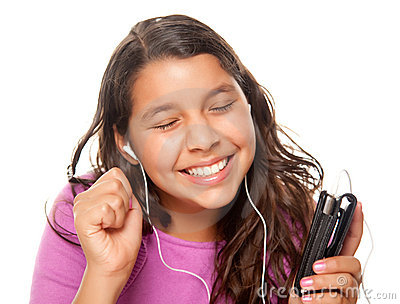 Pretty Hispanic Girl Listening to Music