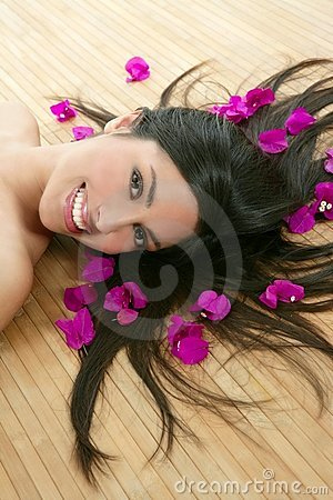 Beautiful indian woman portrait in a beauty spa