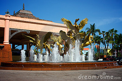 Pegasus statues and fountain
