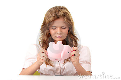 Woman and piggy bank