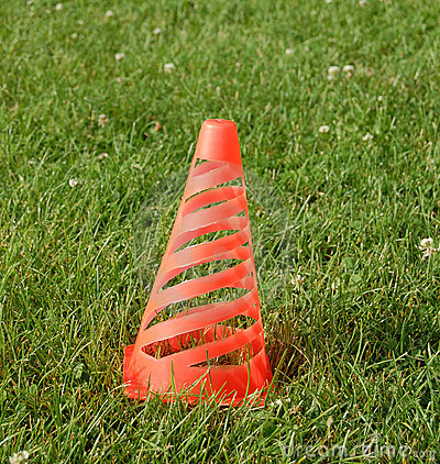 Soccer cone on grass