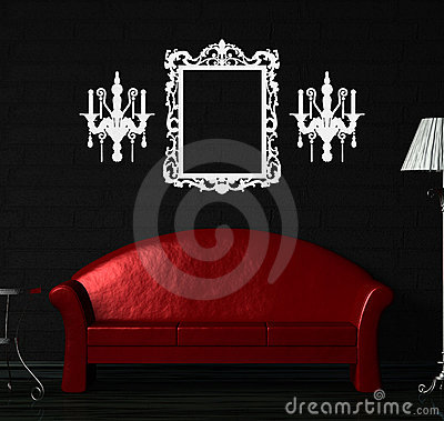 Red sofa, table  and standard lamp