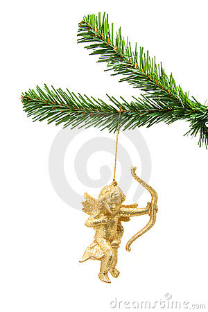 Beautiful golden angel ball on christmas tree