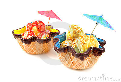 Summer ice cream in colored bowl