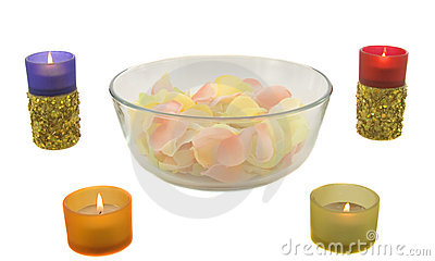 Candles and rose leaves