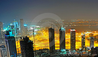 Dubai Construction Site at Night