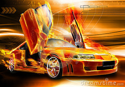 Burning car background