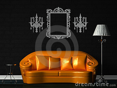 Orange couch, table and standard lamp