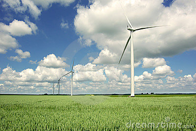 Wind generator on a background of the blue sky.