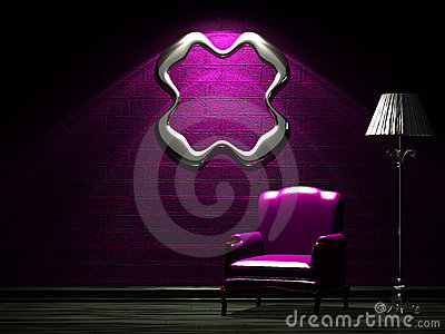 Purple chair with standard lamp and empty frame