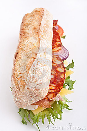 White wheat baguette sandwich