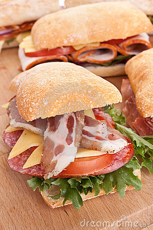 Group of ciabatta sandwiches