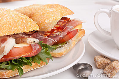 Ciabatta sandwich with coffee