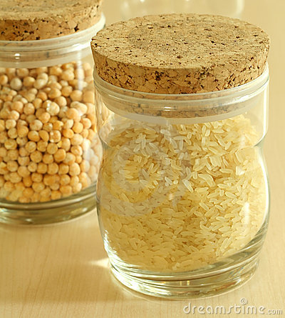 Glass containers with rice and peas