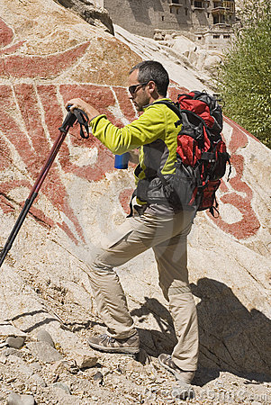 Hiker with buddhist wallpaints