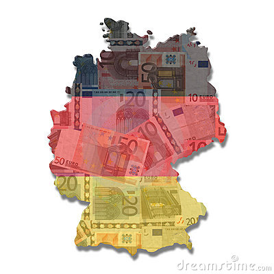 Germany Map flag with euros