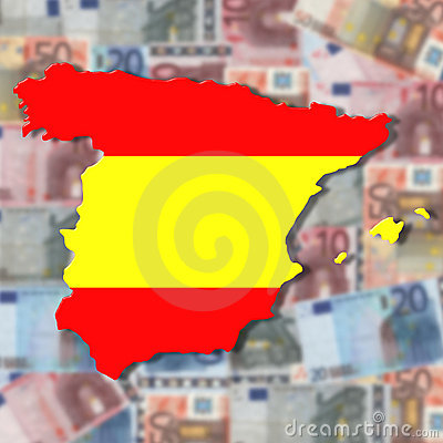 Spain Map flag on blurred euro