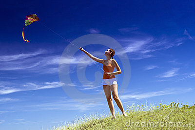 Young girl kite fly