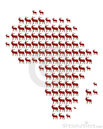 Map of Africa with Antelopes