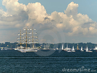 Tall ships taking part in a race in Gdynia POLAND