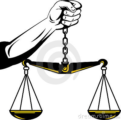 Hand of justice weighing scales