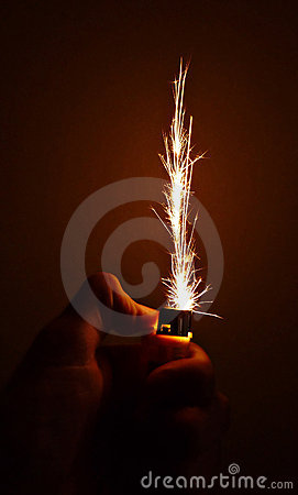 Sparks from the cigarette lighter.
