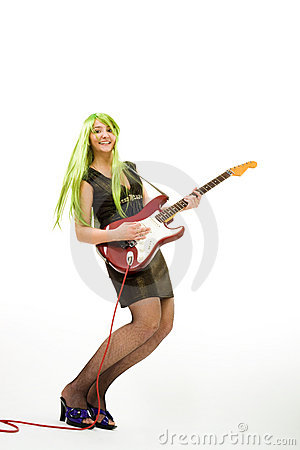 Guitarist with green hair